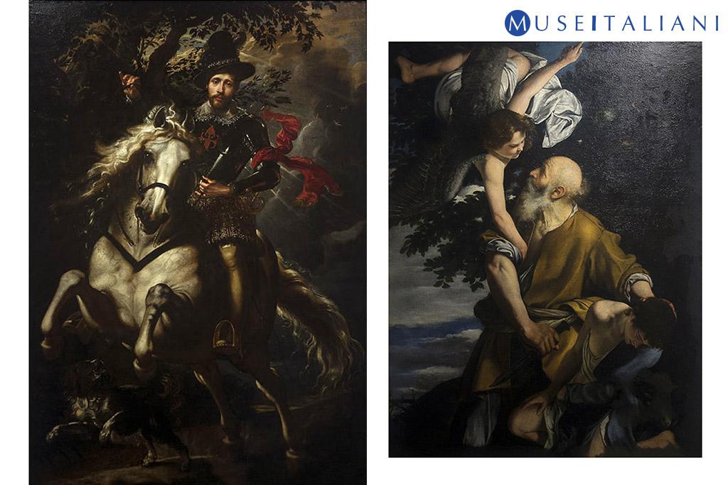 Galleria nazionale di Palazzo Spinola, Genova. Pieter Paul Rubens, Ritratto di Giovanni Carlo Doria a cavallo; Orazio Gentileschi, Il sacrificio di Isacco.